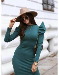 Стилна рокля по тялото в цвят тъмнозелено - код 1504