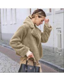Дамско късо палто в бежово - код 164