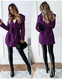 Дамско палто с колан в лилаво - код 643