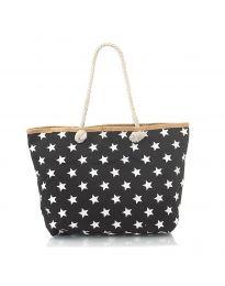 Плажна чанта в черно  на бели звездички - код H-9025