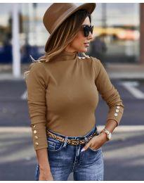 Дамска блуза с поло яка в кафяво - код 5259