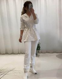 Дамски комплект с перли в бяло - код 5038