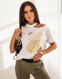 Атрактивна тениска с принт в бяло - код 11711
