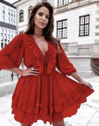 Елегантна дамска рокля в червено - код 5648