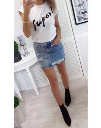 Бяла дамска тениска SUPER - код 804