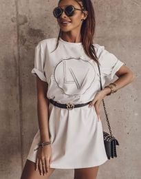 Свободна рокля в бяло с принт - код 8205 - 1