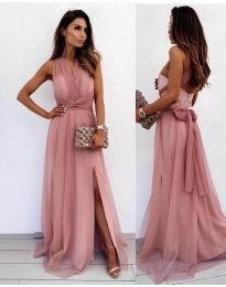 Дълга рокля в цвят пудра - код 2011