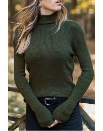 Дамска блуза с поло яка в маслено зелено - код 518