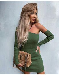 Елегантна рокля в масленозелено - код 4933