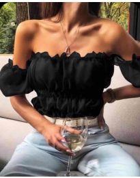 Дамска блуза с голи рамене в черно - код 060
