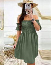 Дамска рокля в масленозелено - код 1409