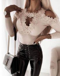 Атрактивен дамски блуза с дантела в бежово - код 4268