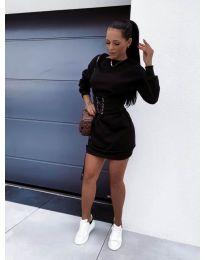 Дамска рокля с колан в черно - код 165