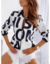 Дамско яке в бяло с принт - код 930