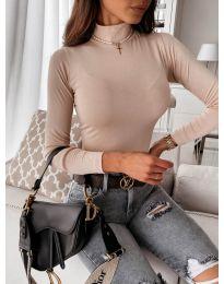Дамска блуза с поло яка в бежово - код 0307