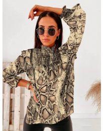 Дамска блуза с атрактивен десен и къдрички - код 496 - 6