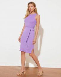 Дамска рокля с колан в лилаво - код 12950