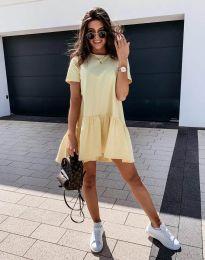 Атрактивна дамска рокля в жълто - код 11890