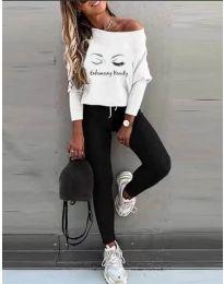 Атрактивен дамски комплект блуза и спортен панталон с принт - код 5242 - 2