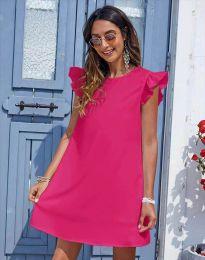 Къса дамска рокля в цвят циклама - код 6261