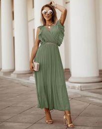 Елегантна дамска рокля с колан в масленозелено - код 3320