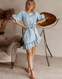 Светлосиня дънкова рокля с къдрички - код 1350