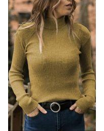 Дамска блуза с поло яка в цвят горчица - код 518