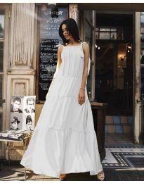 Ефирна дълга рокля в цвят бяло - код 1105