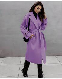 Дамско палто с колан в лилаво - код 410