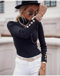 Дамска блуза с поло яка в черно - код 1489