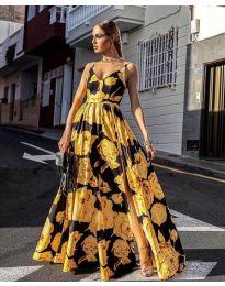 Дълга ефирна рокля в жълто - код 5520