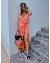 Елегантна рокля в цвят оранжево - код 0081