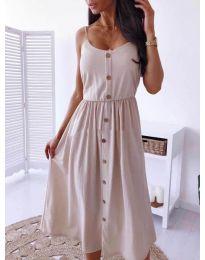 Изчистена рокля цвят бежово - код  5057