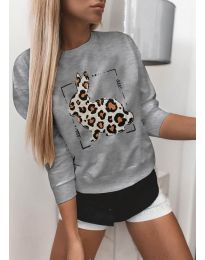 Дамска сива блуза с принт - код 3992