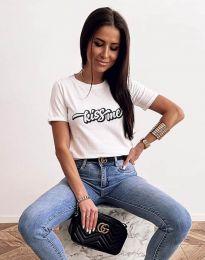 Бяла дамска тениска с принт - код 2267