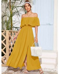 Дълга дамска рокля в цвят горчица - код 698