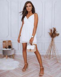 Елегантна дамска рокля по в бяло - код 0890