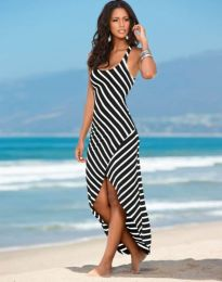 Лятна рокля на райе в черно - код 5669