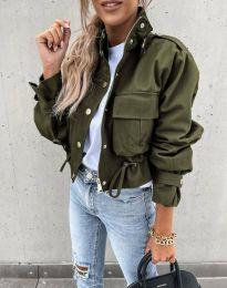 Късо дамско яке в масленозелено - код 4693