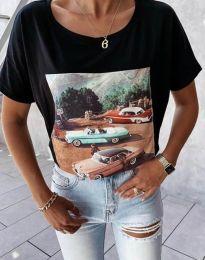 Тениска в черно с принт - код 2460
