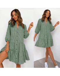Свободна дамска рокля на зелено каре - код 965