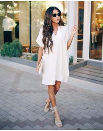 Свободна дамска рокля в бяло - код 163