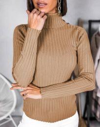 Дамска блуза с поло яка в кафяво - код 1114
