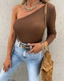 Атрактивна дамска блуза в кафяво - код 4830