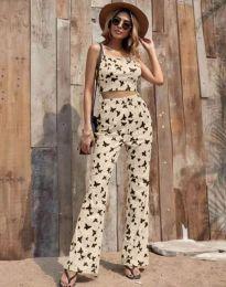 Дамски комплект потник и панталон в бежово с десен на пеперуди - код 6899