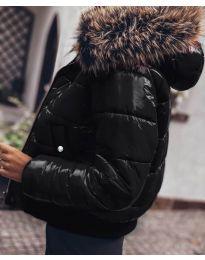 Дамско яке в черно с пух -  код 4949