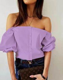 Екстравагантна дамска риза с паднали рамене в светлолилаво - код 3525