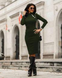 Дамска рокля в тъмнозелено - код 7099