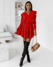 Кокетна дамска рокля в червено - код 12042