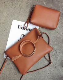 Дамска чанта от две части в кафяво - код B292
